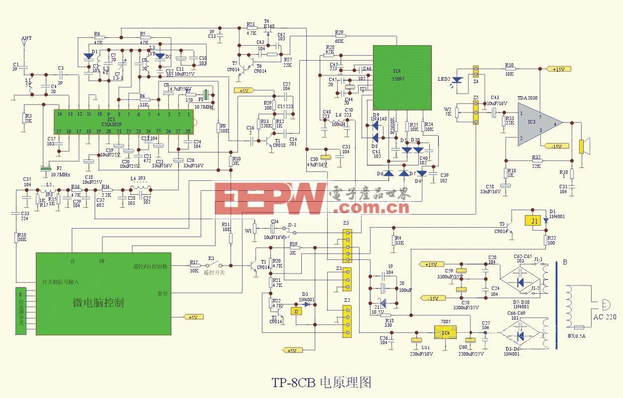 TP-8CB型10W调频音箱电路图