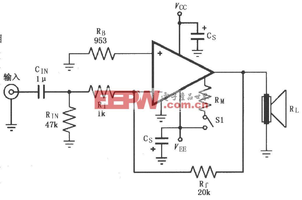 由LM4781构成的反相功率放大电路