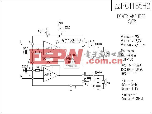 uPC1185H2功放电路