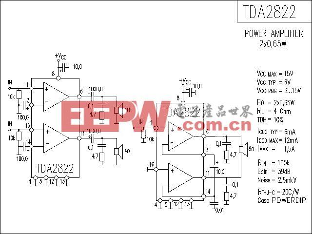 TDA2822功放电路