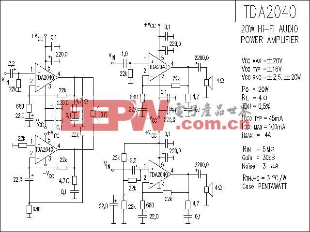 TDA2040功放电路