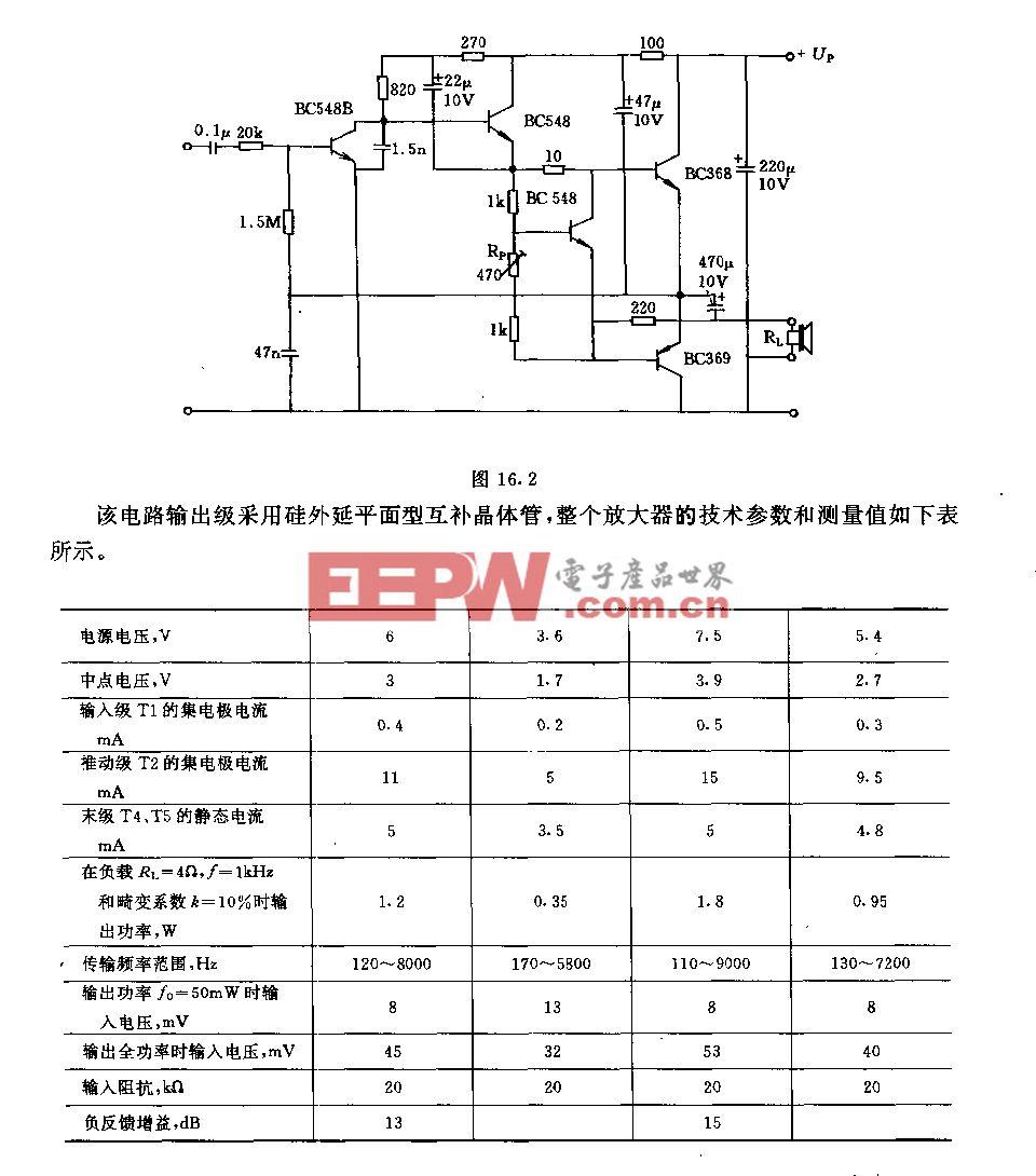 采用低电压电源互补输出级的1.5w低频放大器电路