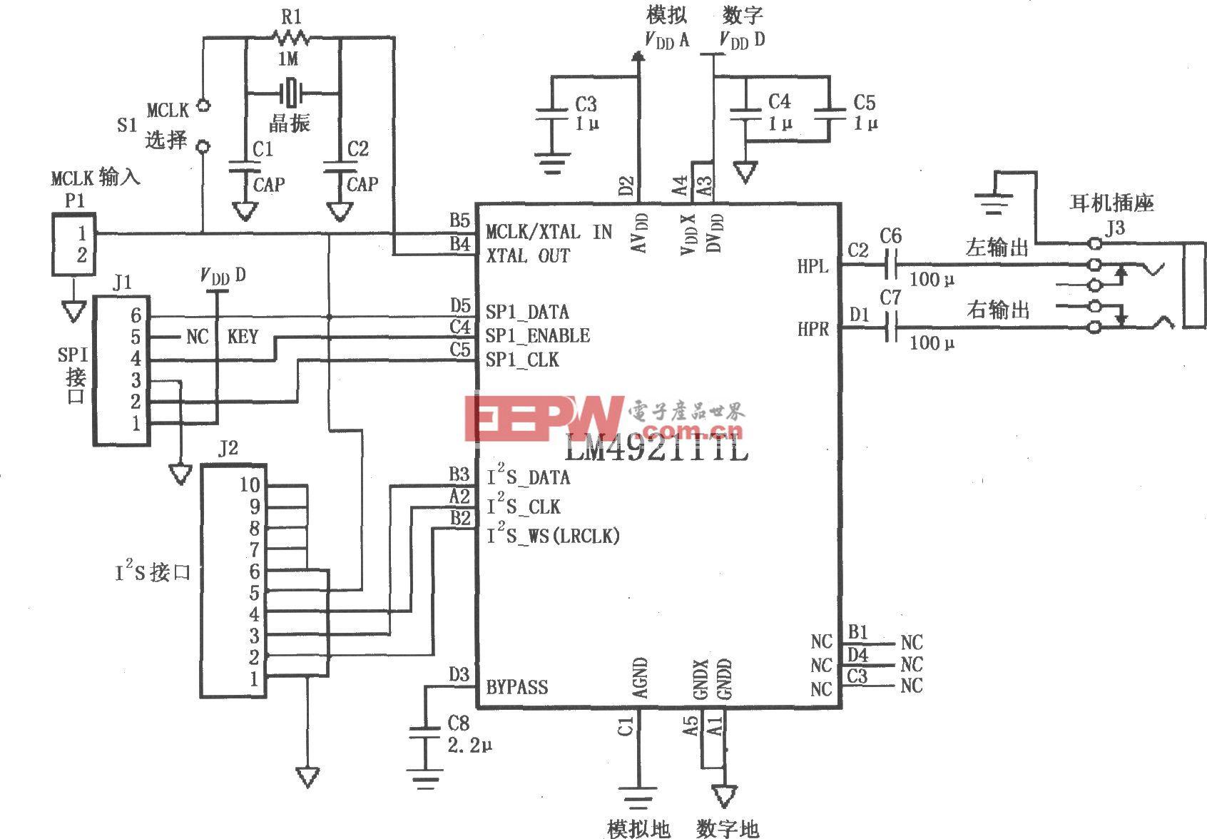 LM4921用于双声道耳机放大器的典型电路
