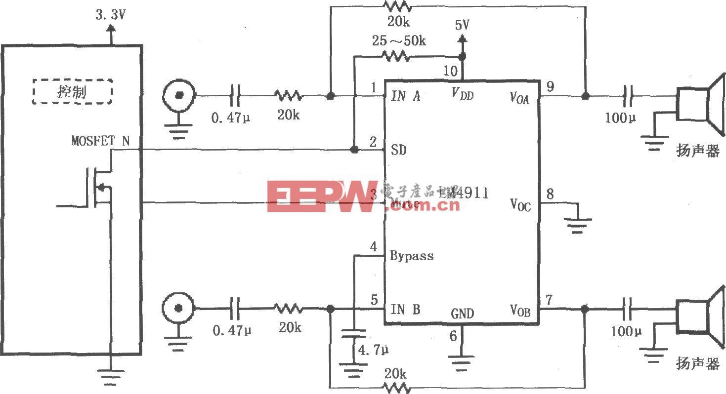 LM4911的不同电源导通时间推荐电路