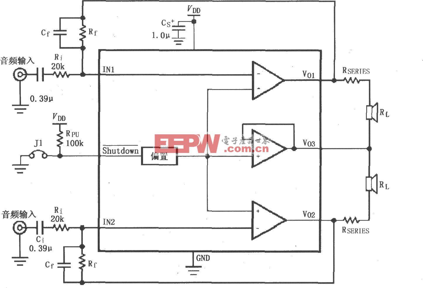 LM4910最小输出噪声/降低输出功率电路