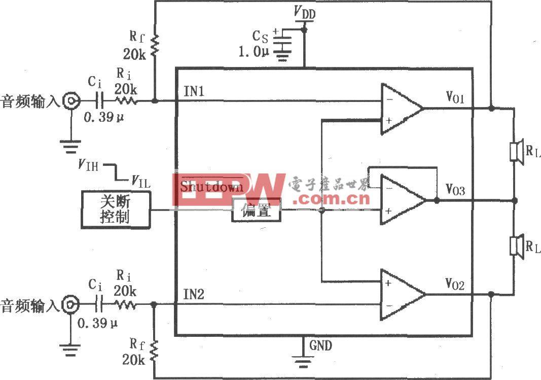LM4910用于双声道放大器的典型电路
