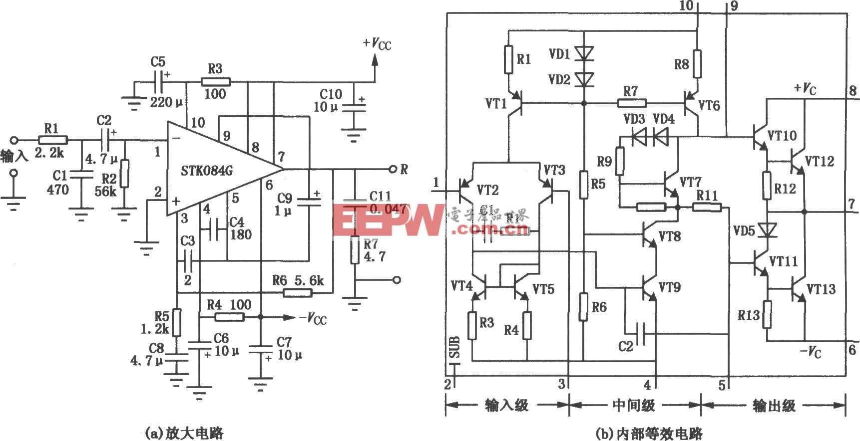 STK084G组成的50W厚膜功率放大电路