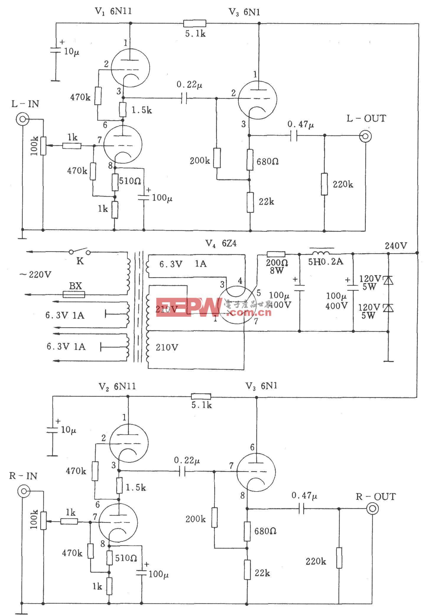双声道电子管功放前级放大器电路图