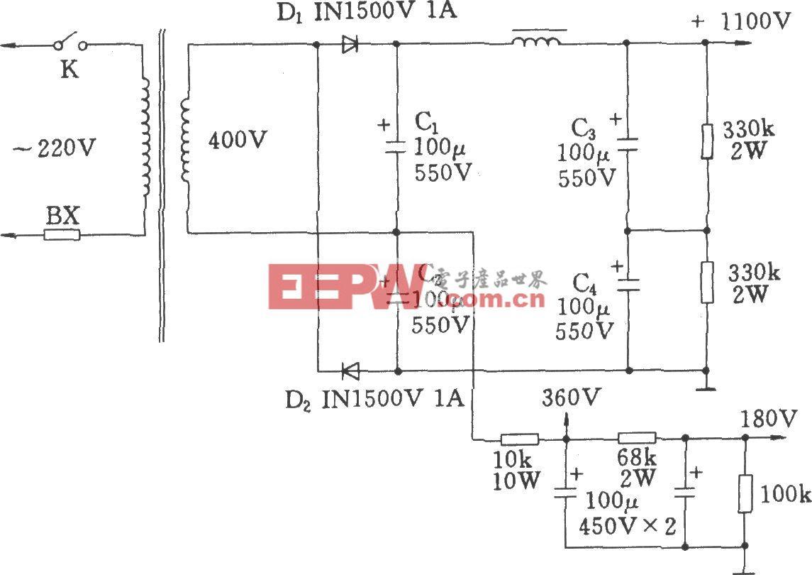 常用的高压倍压电路(用于电子管功放)