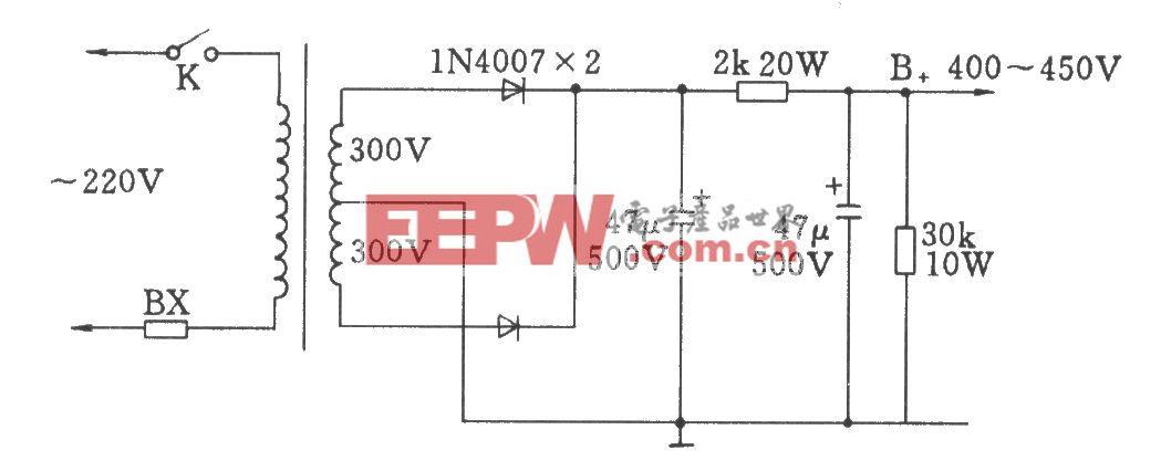晶体二极管全波整流电路(用于电子管功放)