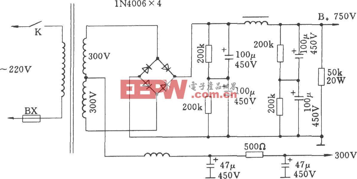 晶体二极管桥式整流电路(用于电子管功放)