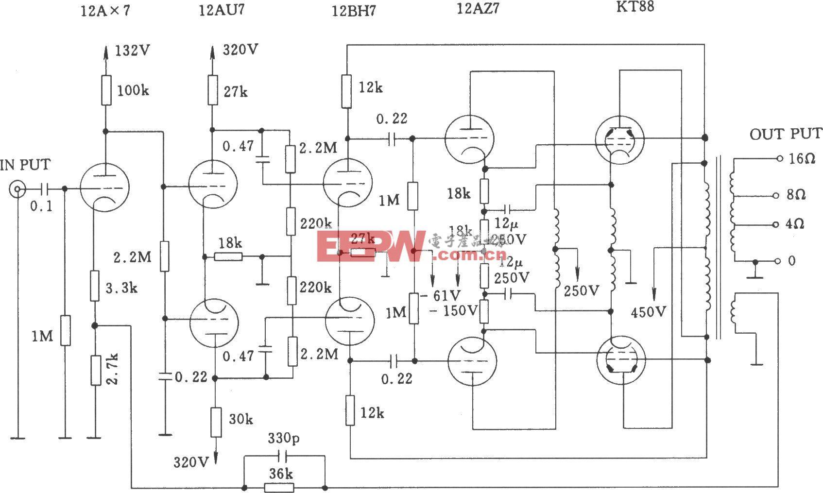 电子管麦景图MC-275(McIntosh 275)功率放大器电路图