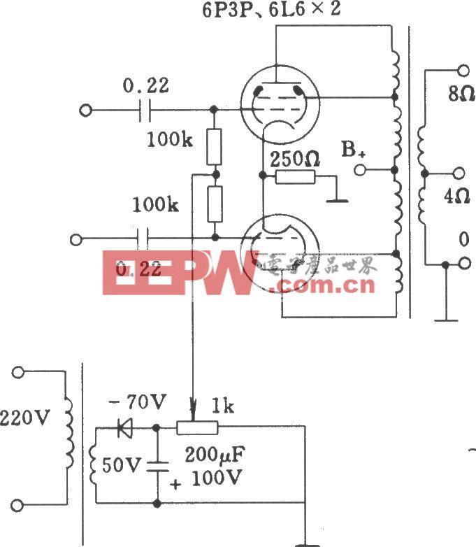电子管固定栅负压方式功放电路