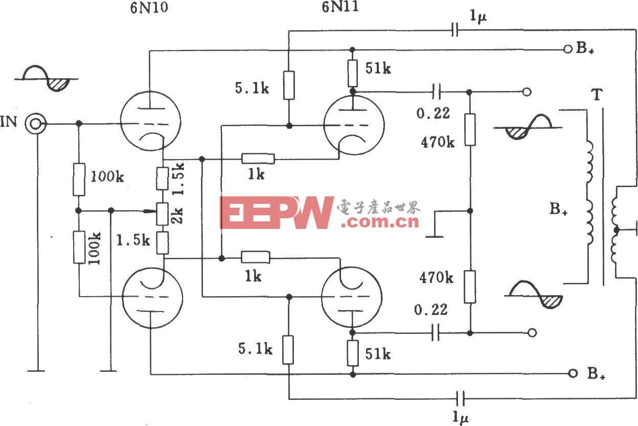 电子管交叉平衡式倒相电路