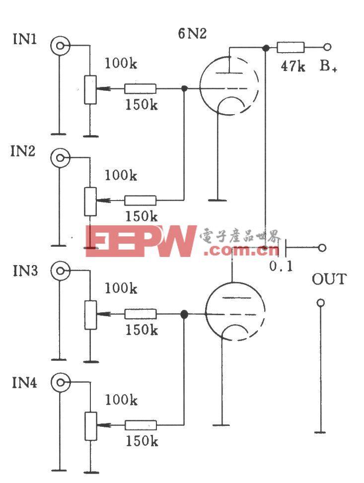 电子管单级多路通过电阻耦合―直接耦合混合的输入电路