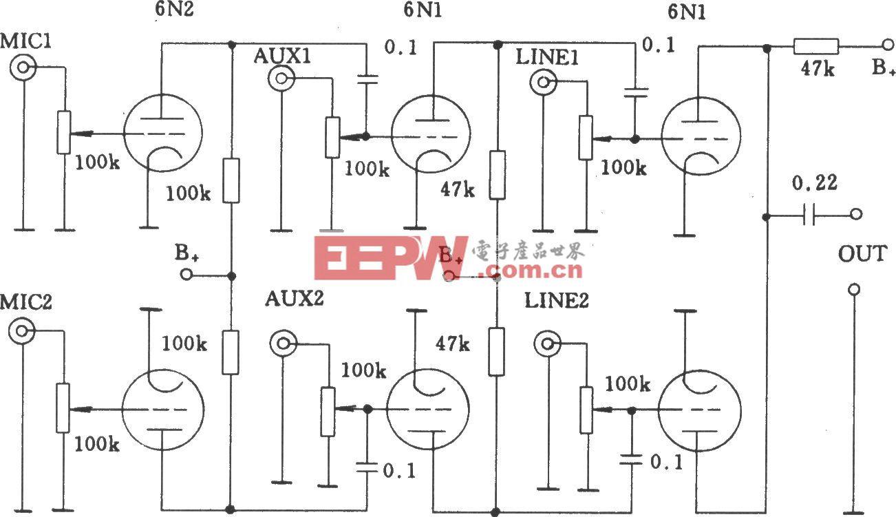 电子管多路音频输入混合电路1