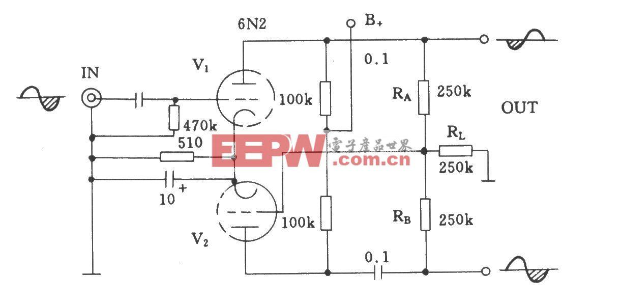 电子管共屏极负载式倒相电路