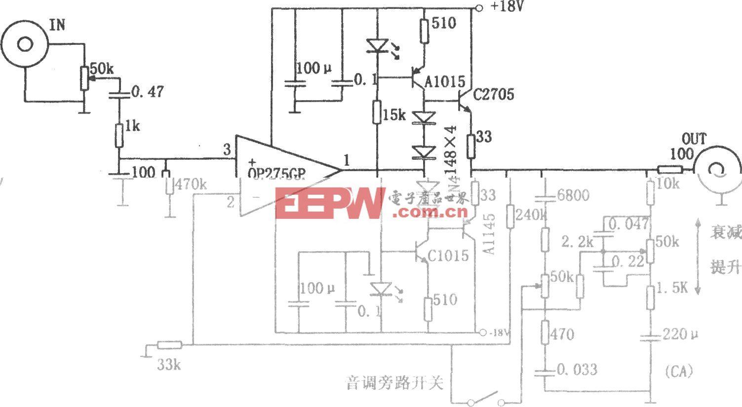 具有音调控制的音频放大器(OP275)