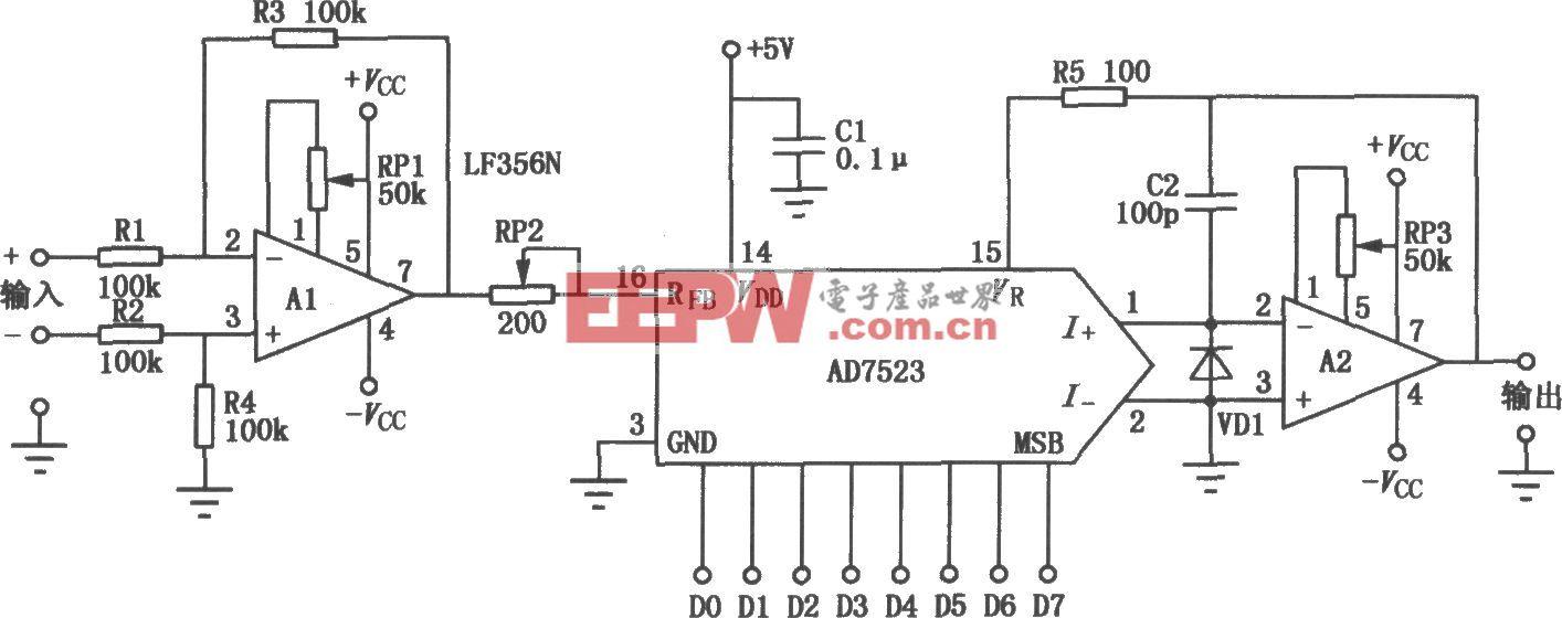 AD7523构成的可编程增益放大电路