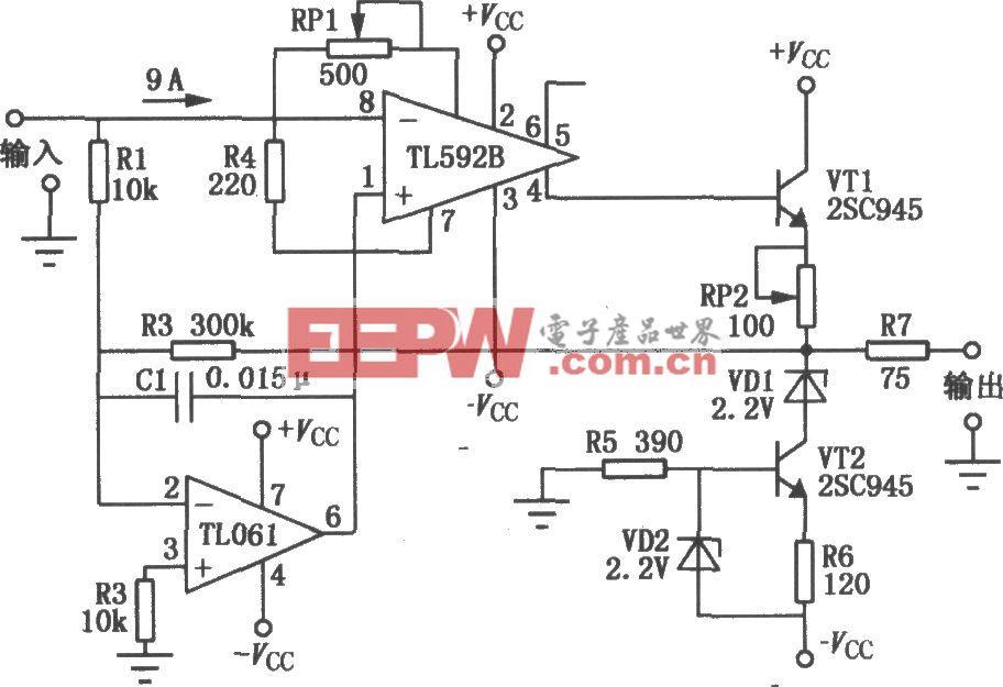 TL592B构成的低漂放大电路