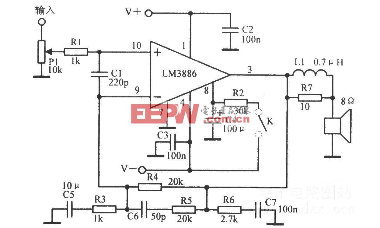 音频功放LM3886基本应用电路