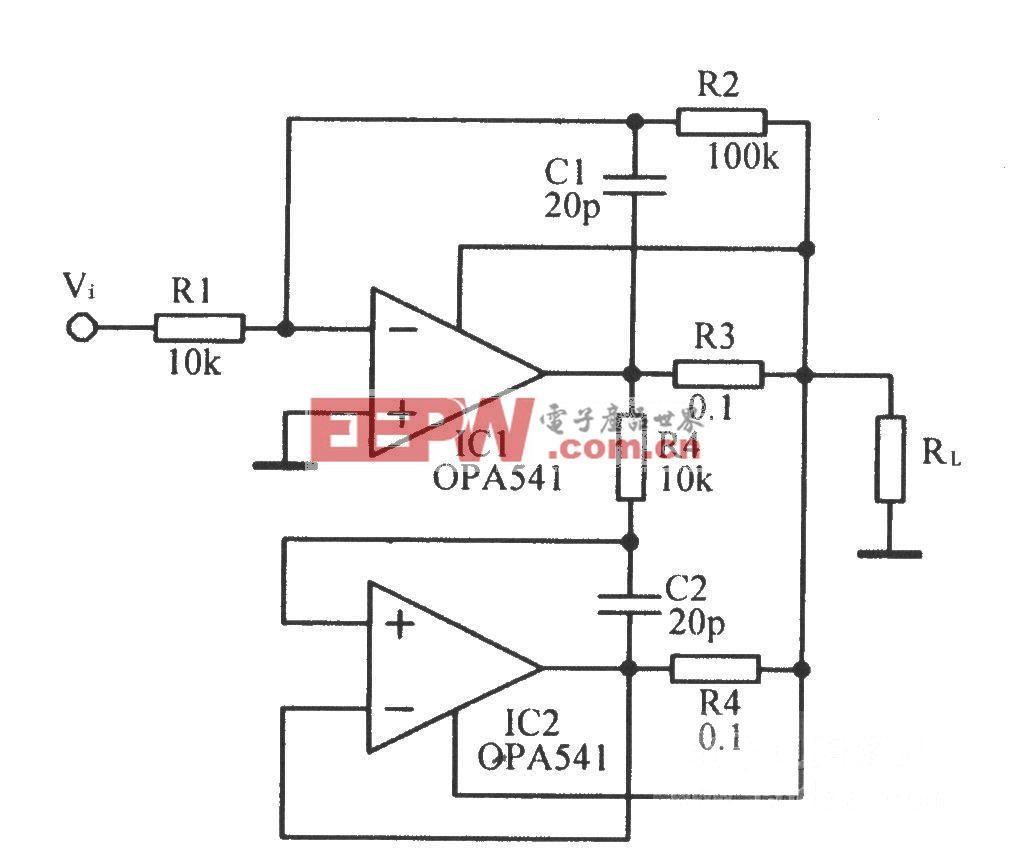 输出电流达10A的功率放大电路