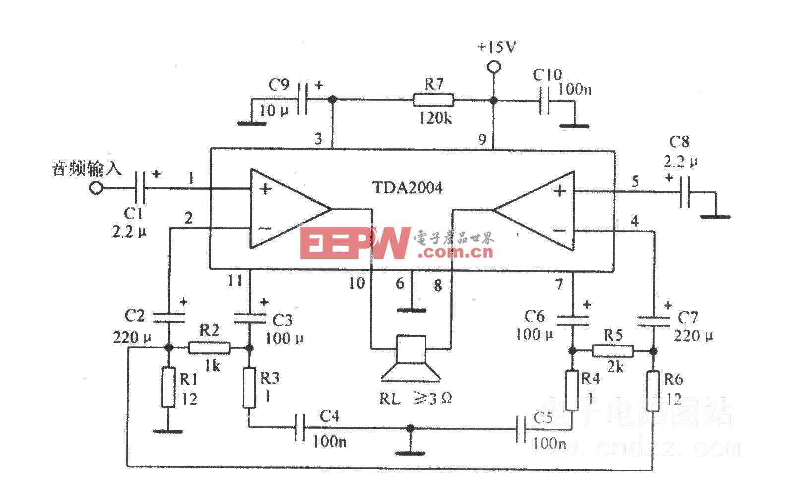 音频功放TDA2004应用电路