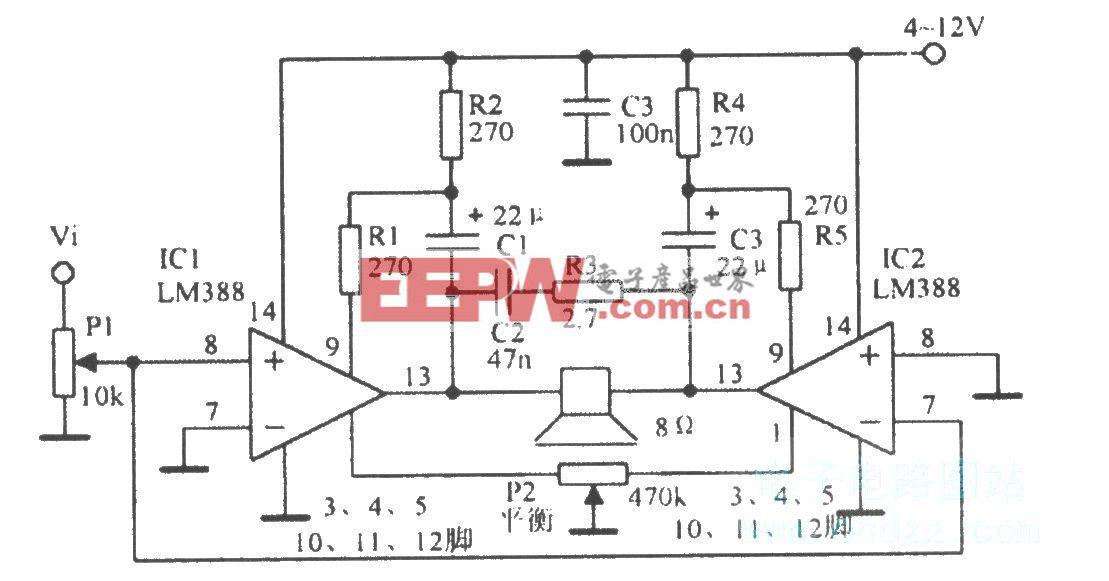 LM388桥式功率放大器