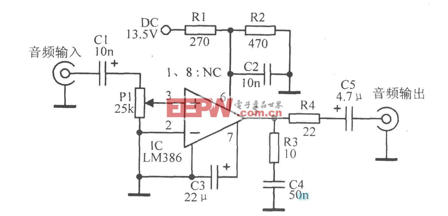 由LM386组成的20增益放大电路