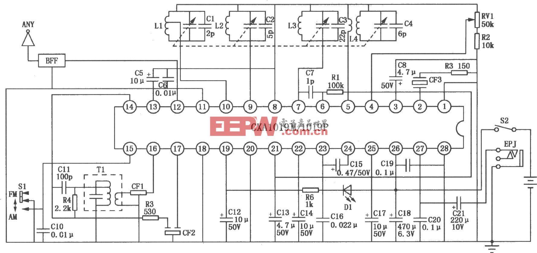 CXA1019M/1019P/1019S FM/AM单片收音机电路