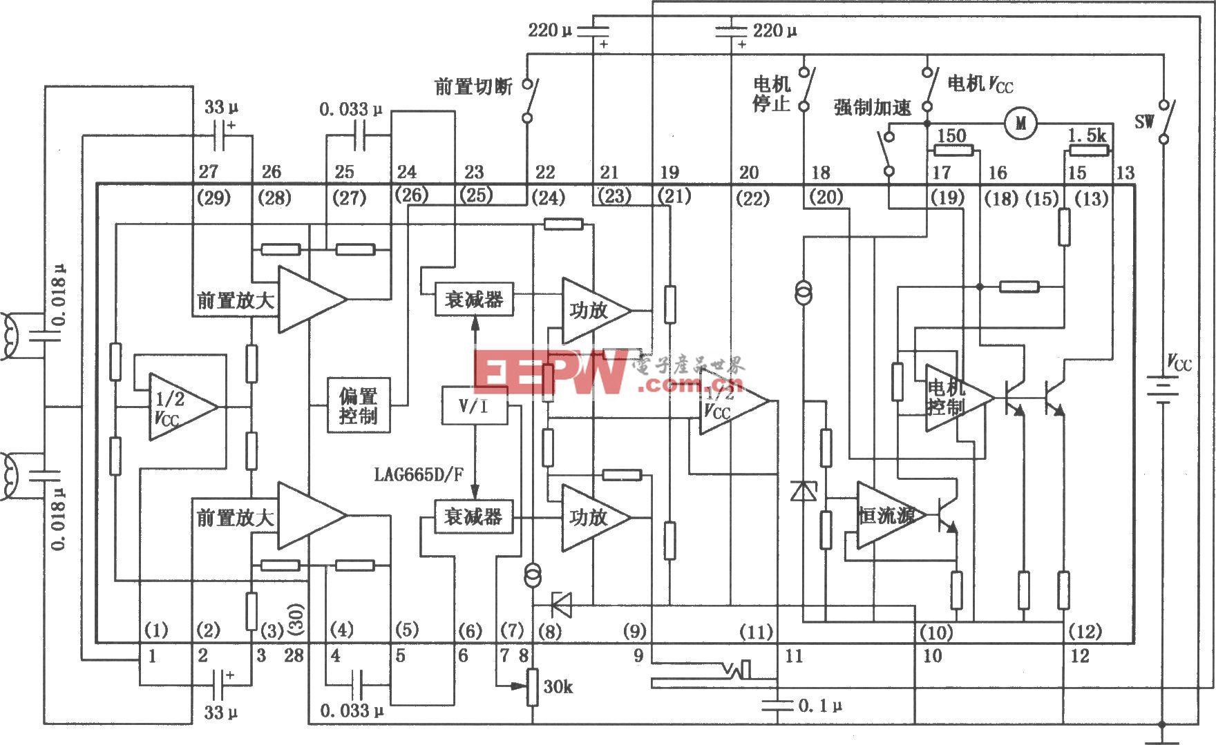 LAG665D/665F  单片立体声放音机电路