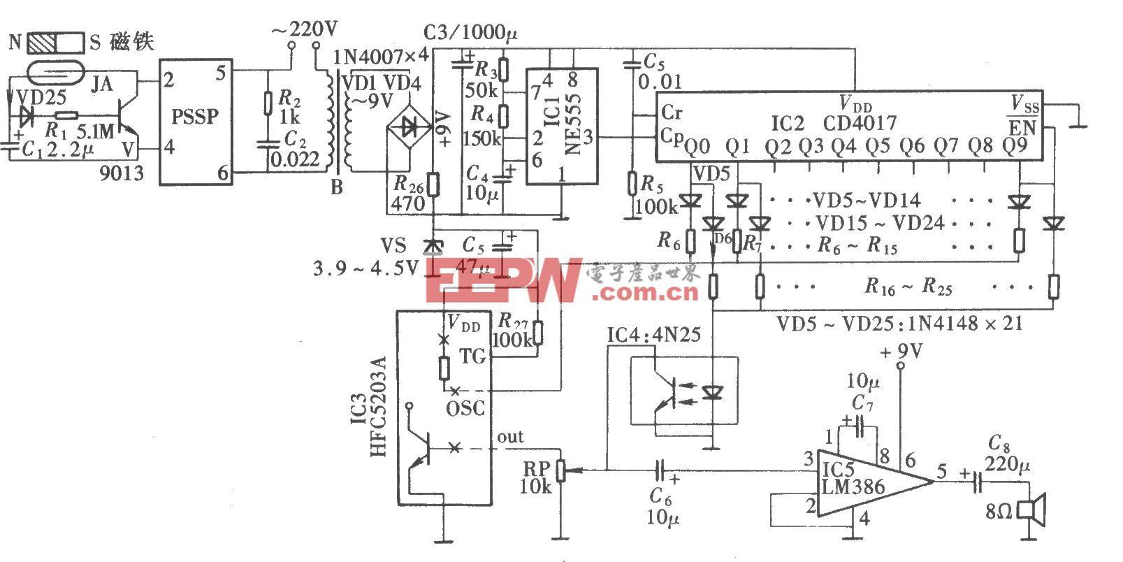 音量渐增式关门提醒器(CD4017、LM386)