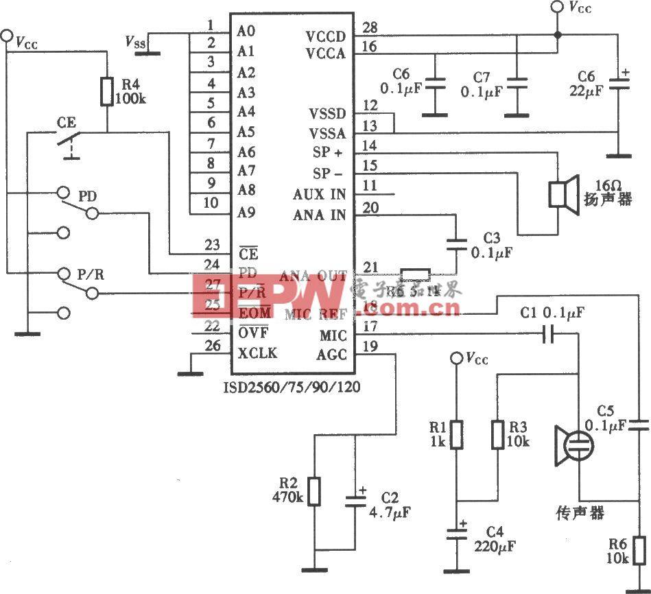ISD2500P录放语音电路