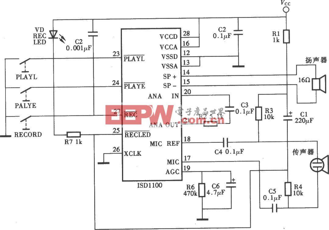 ISDll00P分段录放语音电路