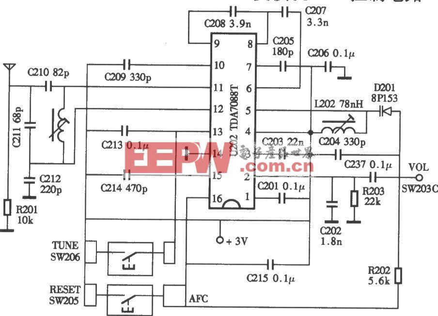 小霸王SB-818型复读机电子调谐接收电路