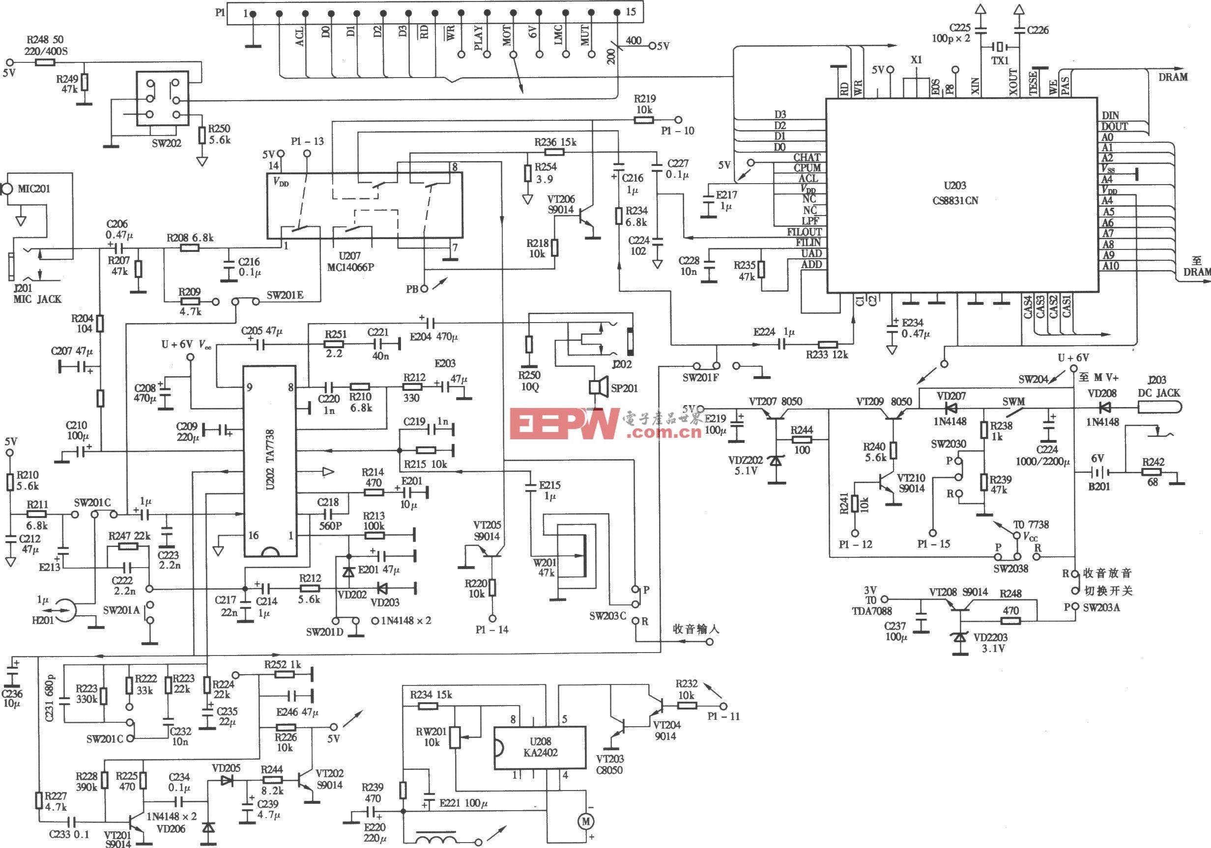 小霸王SB-818型复读机主电路