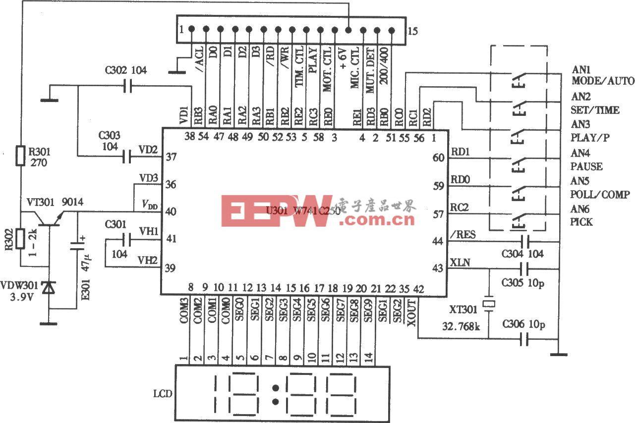 小霸王SB-818型复读机CPU控制电路