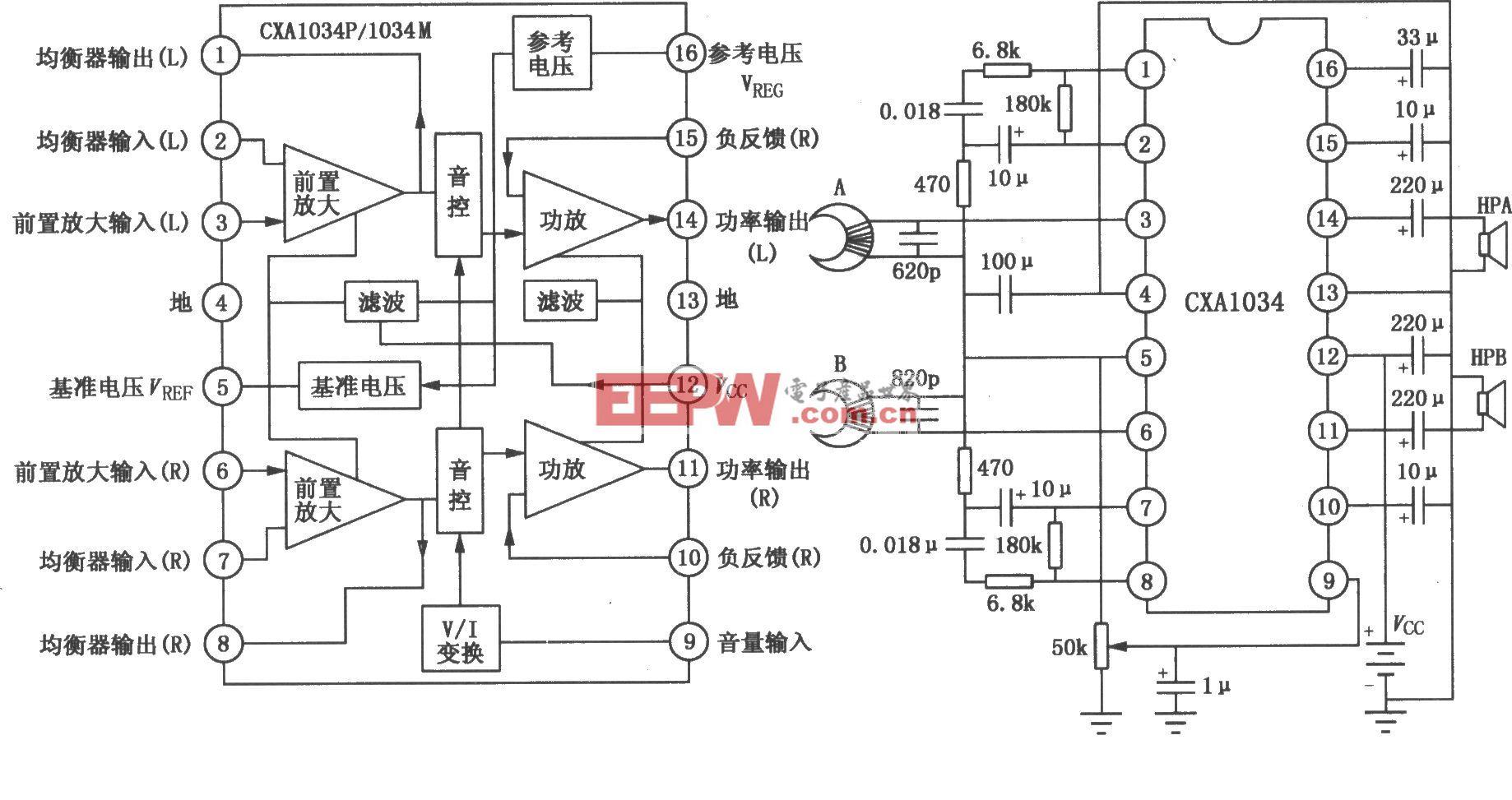 CXA1034P/1034M单片立体声放音机电路