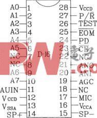 语音合成芯片D-16应用电路图