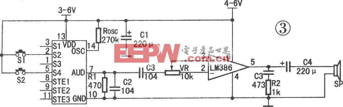 ML-01G与LM386相连应用电路(语音播放)