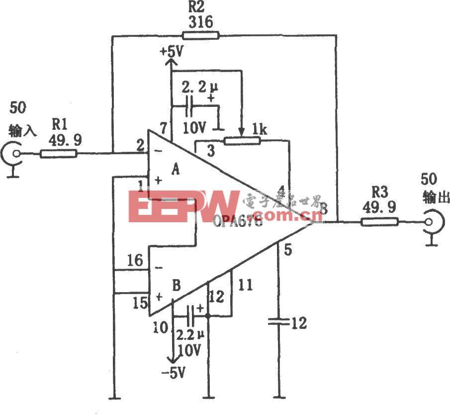 具有50Ω输入/输出阻抗的宽带视频放大器(OPA676)