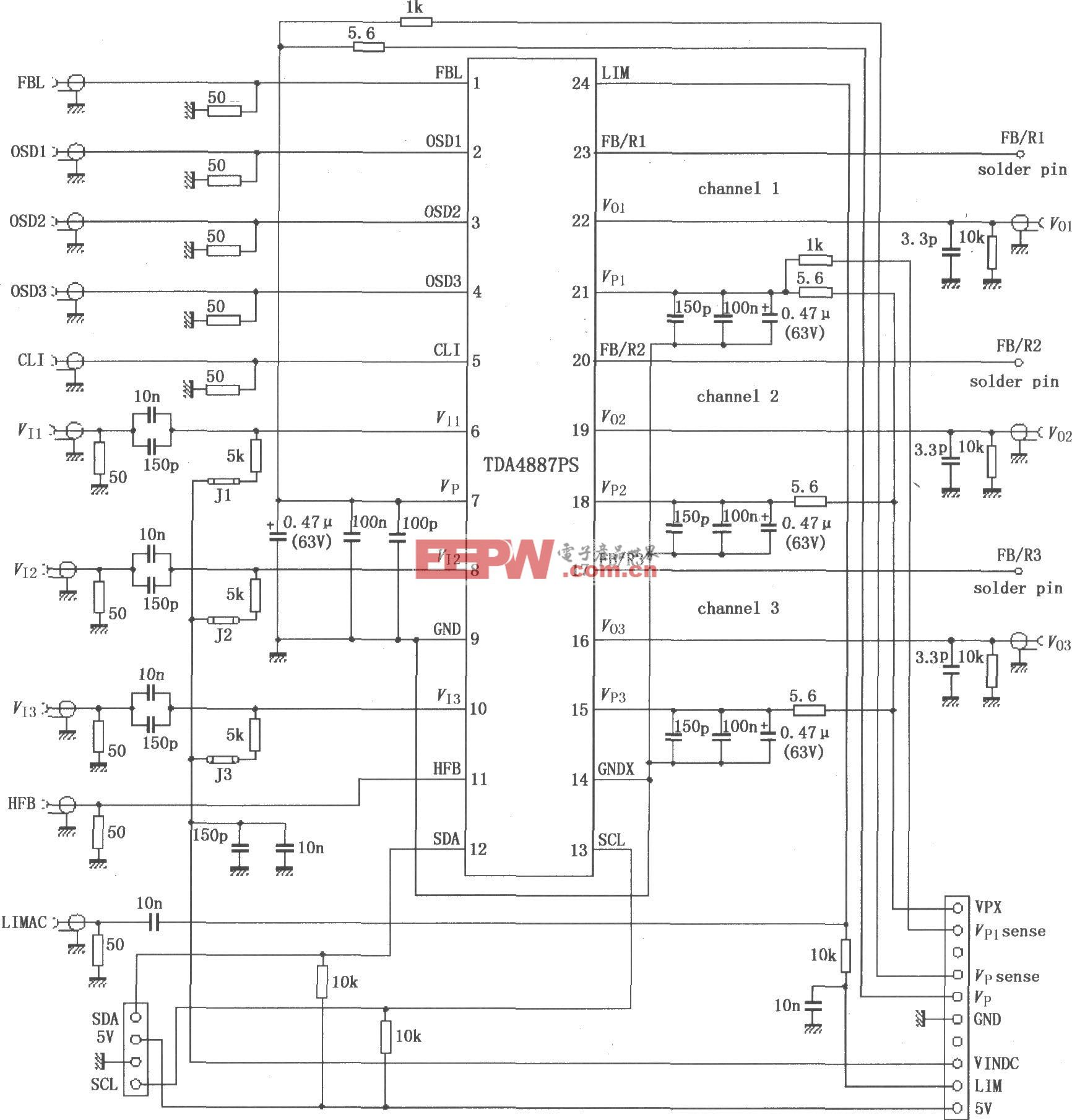 TDA4887PS利用内部正反馈的测试电路