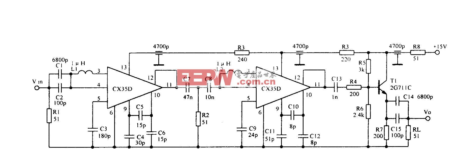 低噪聲200MHz寬帶放大電路