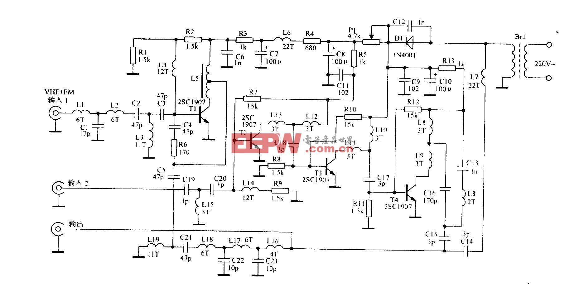 托勒斯全频道天线放大电路改进型
