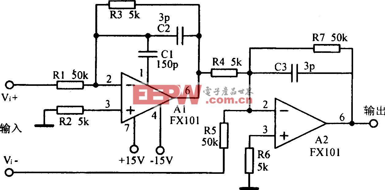 共模输入电压可达l00V的差分放大电路