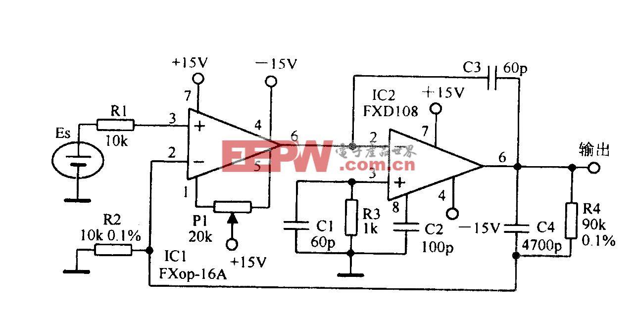 标准电池缓冲放大电路