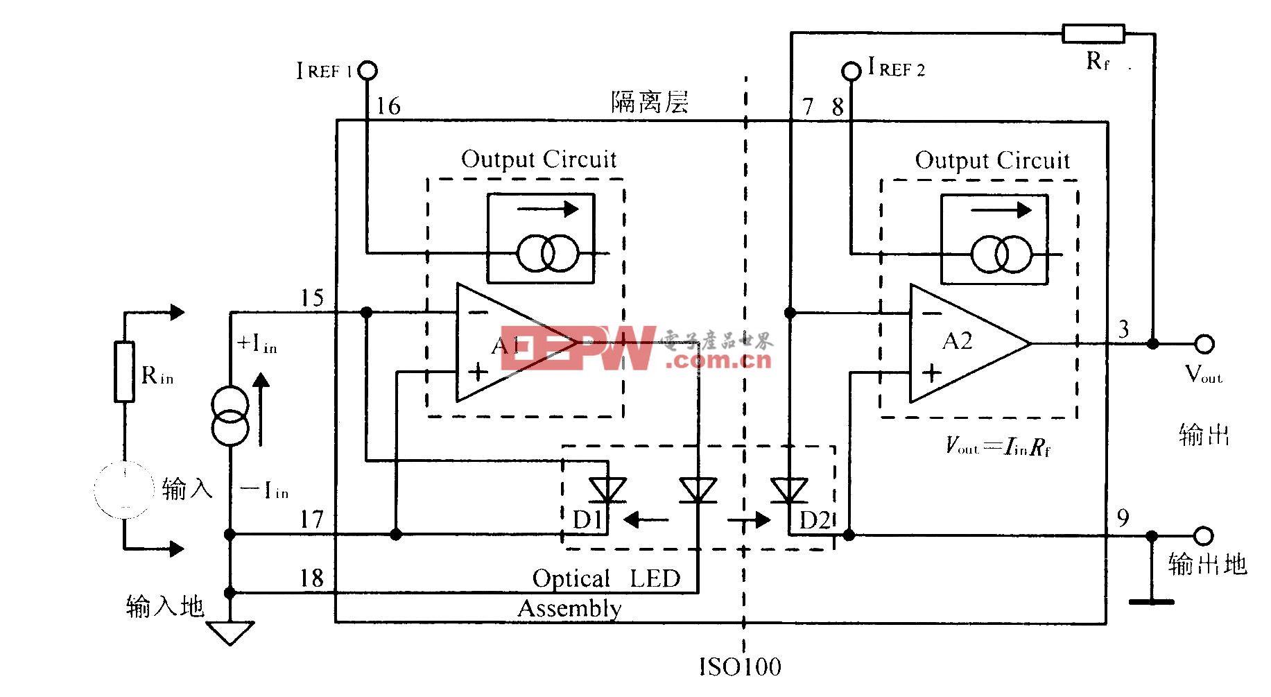 光电耦合线性隔离放大器IS0100接线电路