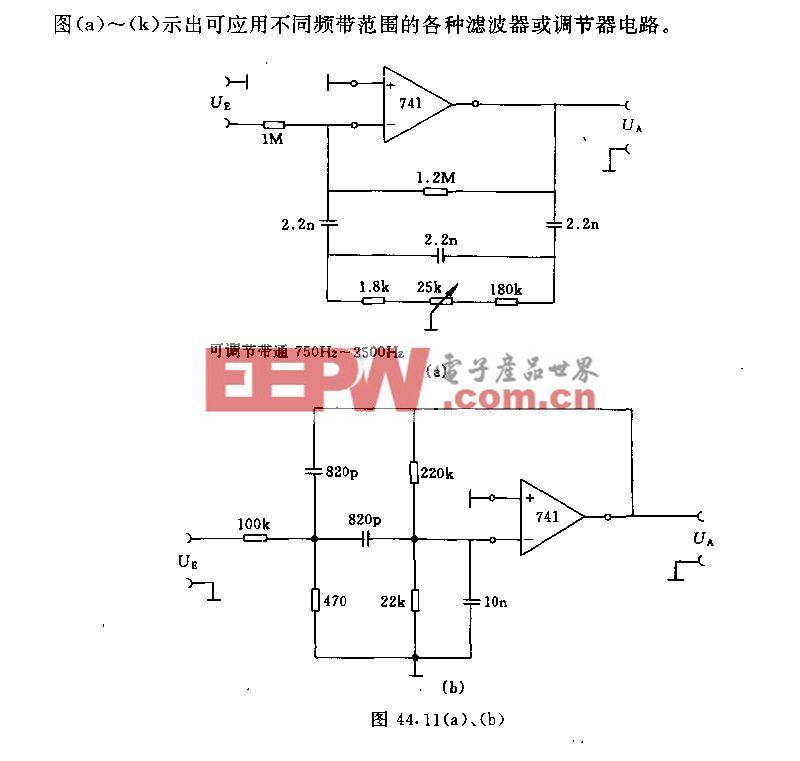 不同应用领域的滤波器(调节器)电路