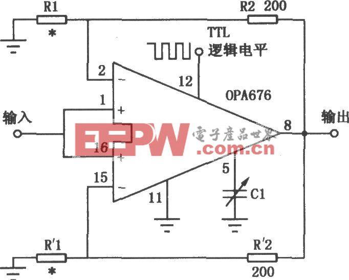 使用OPA676的增益可編程放大電路