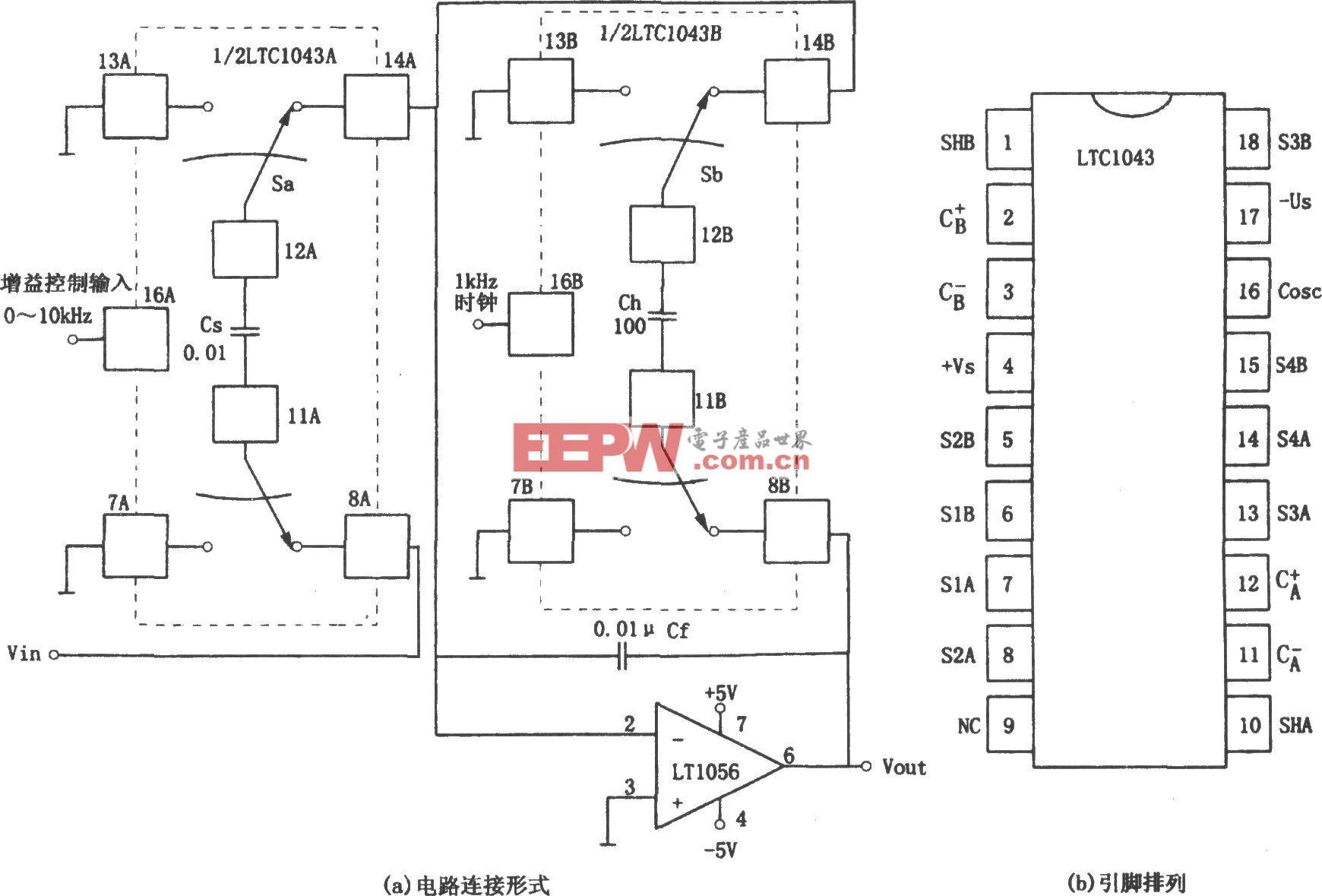 用頻率控制增益的放大器(LTC1043)